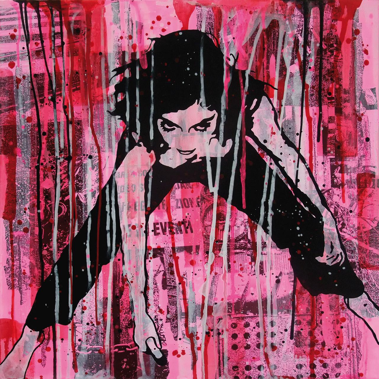 Airone - Street Blossom - Mixed media on canvas 100x100 - 2010