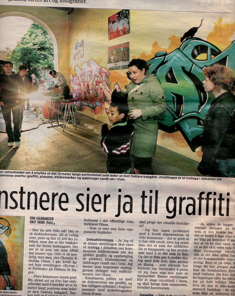 Oslo graffiti on newspaper - June 2005